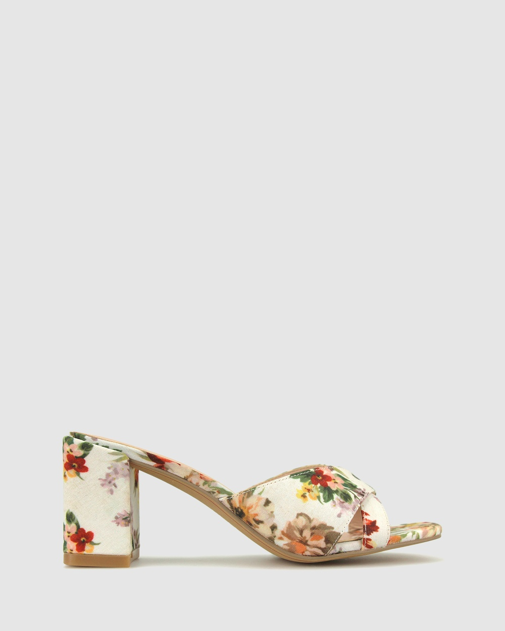 Betts Lillydale Block Heel Mules Sandals Floral