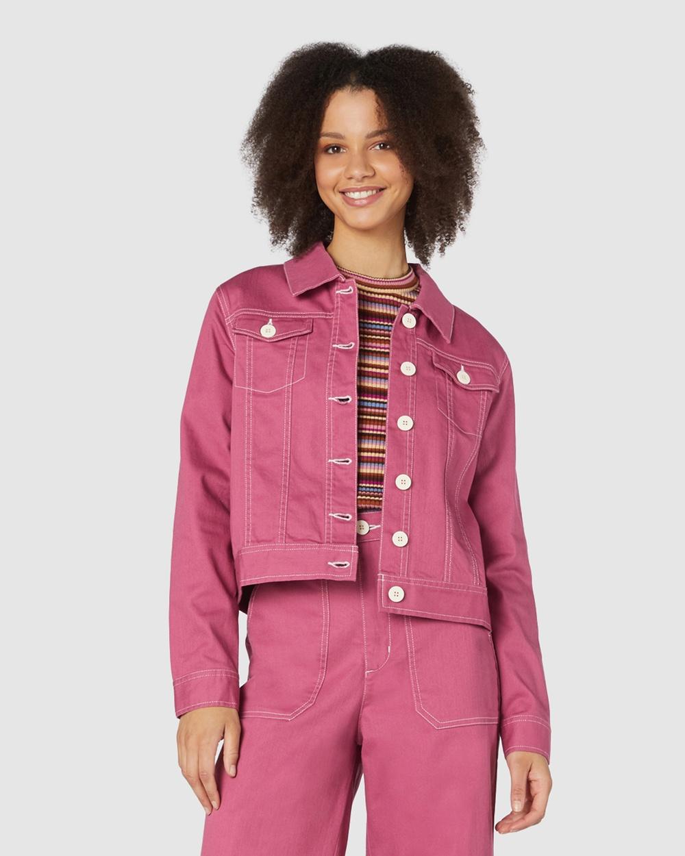 Princess Highway Angie Drill Jacket Denim jacket Pink Australia
