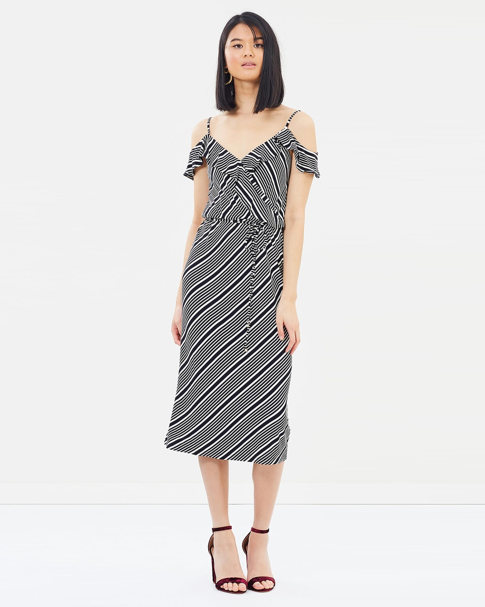 Oasis Diagonal Stripe Wrap Midi Dress Dresses Multi Black Diagonal Stripe Wrap Midi Dress