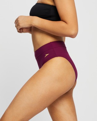Speedo Eco High Waist Band Pants - Bikini Bottoms (Cabernet)