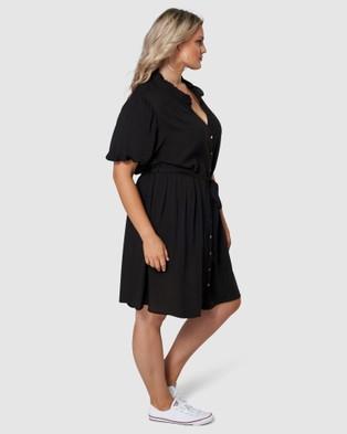 Sunday In The City No Feeling Midi Shirt Dress - Dresses (BLACK)