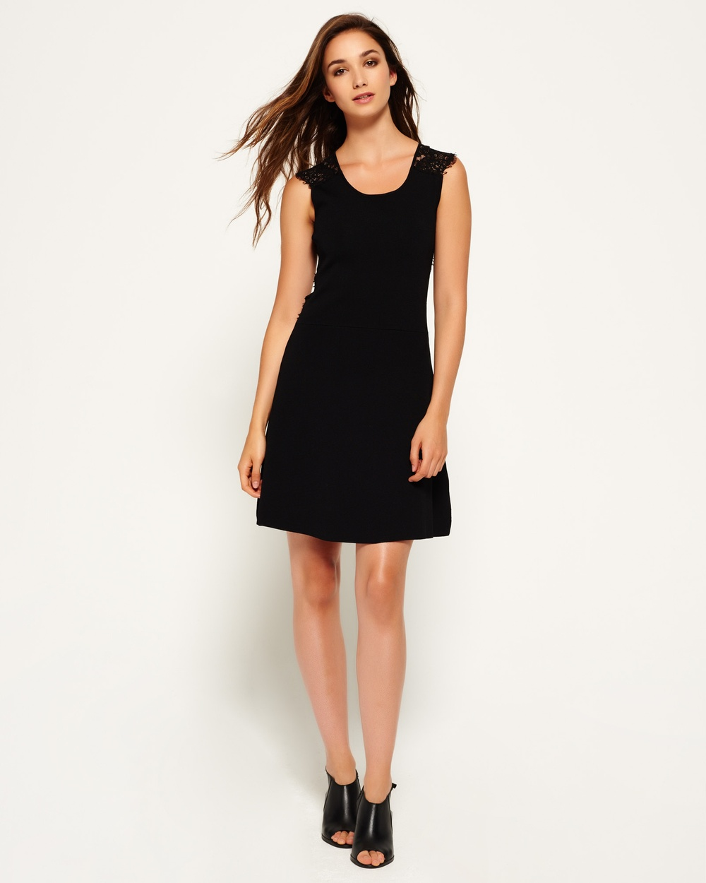 Superdry Alina Lace Knitted Dress Dresses BLACK Alina Lace Knitted Dress