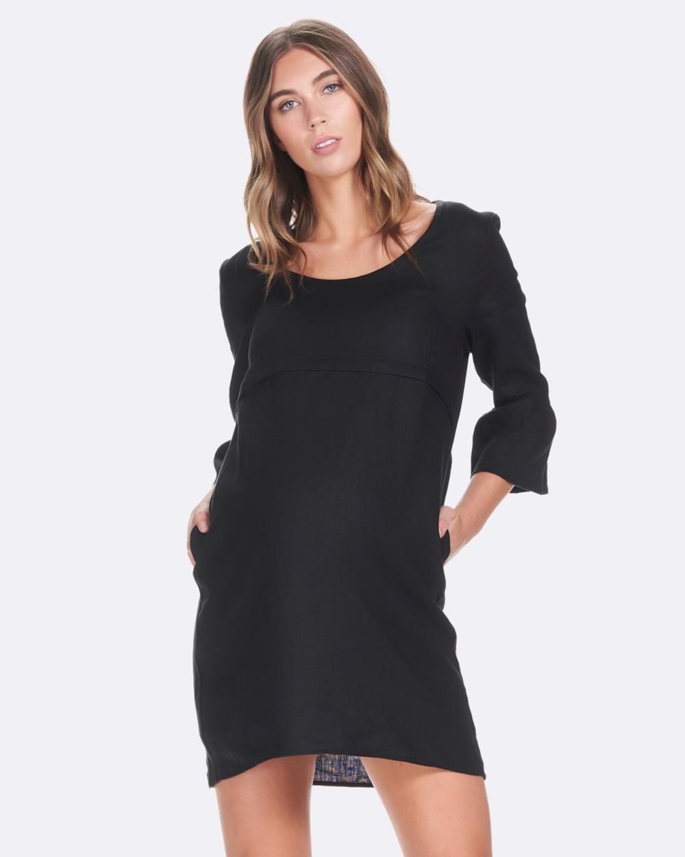 Soon Maternity Black Rubi Linen Feeding Dress