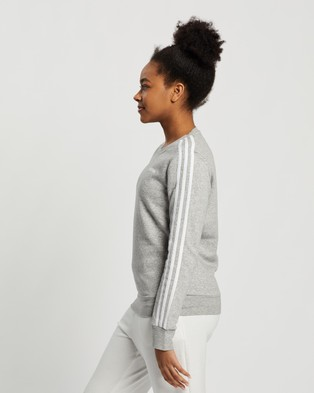adidas Performance Essentials 3 Stripes Sweatshirt - Crew Necks (Medium Grey Heather & White)