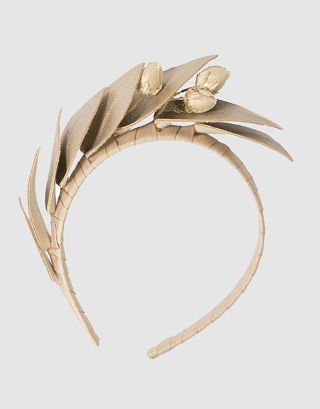 Women Gold Leather Flowers Headband
