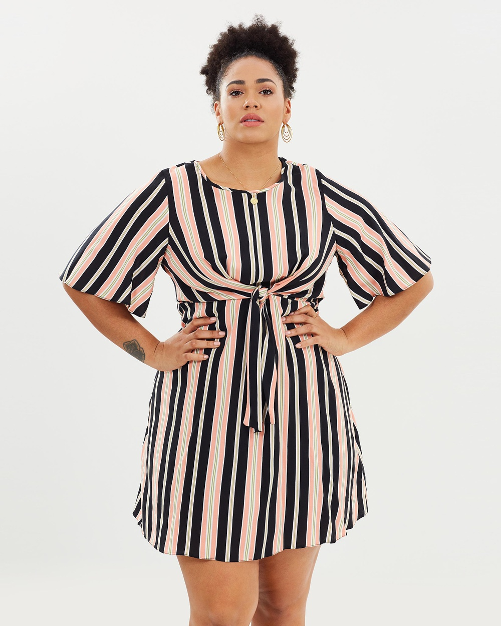 DP Curve Stripe Manipulated Shift Dress Printed Dresses Multi Stripe Manipulated Shift Dress