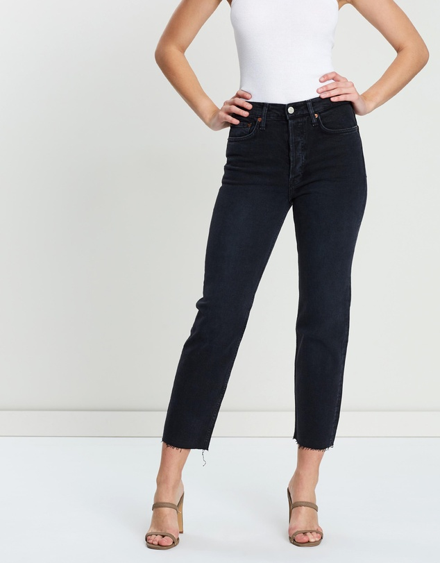 Comfort Stretch High Rise Stove Pipe Jeans by Re/Done