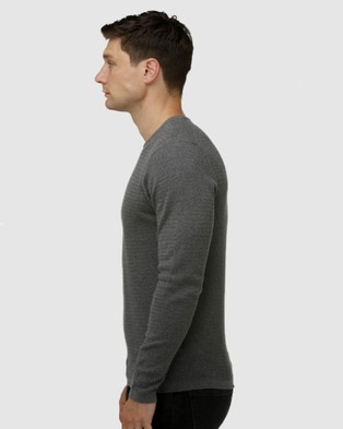 Brooksfield Textured Core Crew Neck Sweater - Jumpers & Cardigans (Grey)