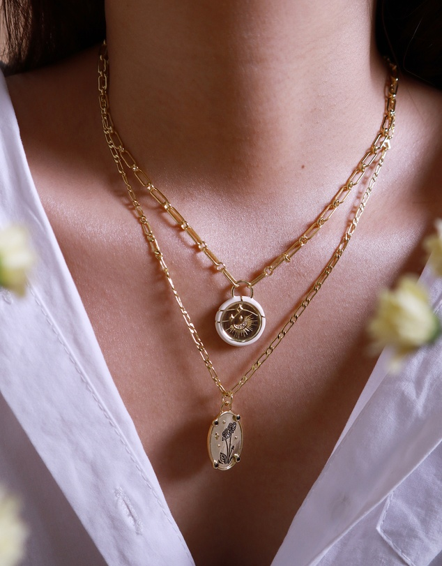Women Bloom Within Gold Necklace