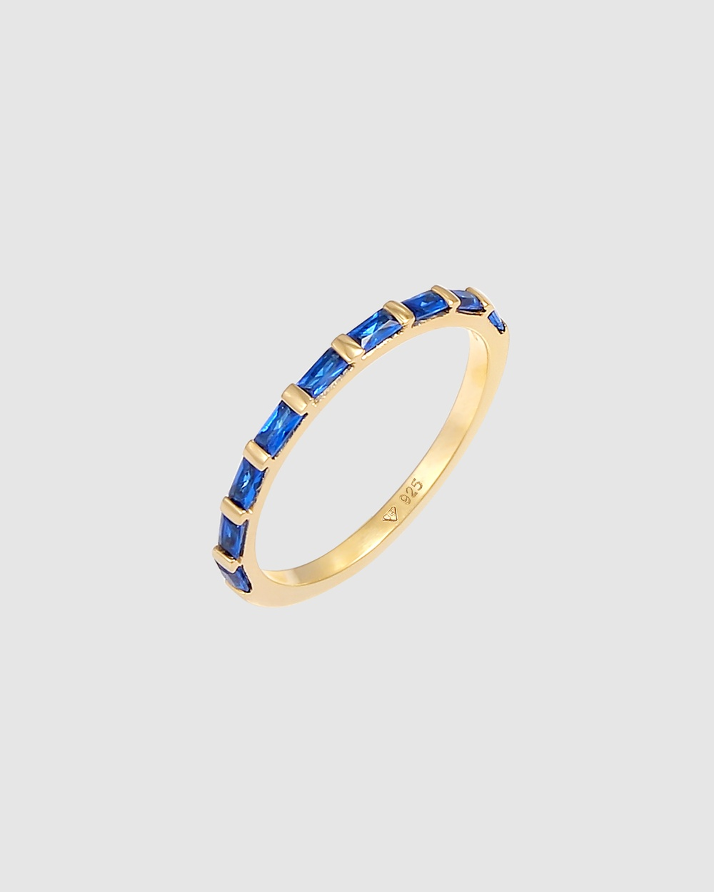 Elli Jewelry Ring Band Sparkling with Synthetic Sapphires in 925 Sterling Silver Gold Plated Novelty Gifts blue