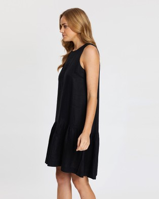 Jag Drop Waist Linen Dress - Dresses (black)