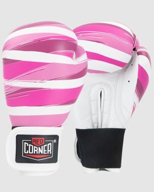 Red Corner Boxing RCB Spar Boxing Gloves   Stripes - Training Equipment (Pink)