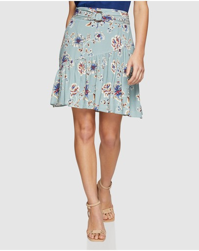 Oxford Kat Floral Printed Skirt Green