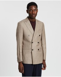 REISS - Double-Breasted Micro Puppytooth Slim Peak Blazer