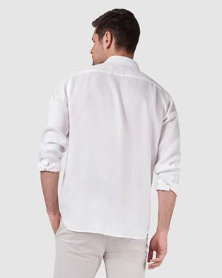 Australia Blazer Cooper Long Sleeve Linen Plain Shirt - Shirts & Polos (White)