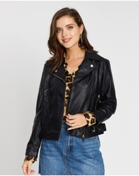 DP Petite - Faux Leather Biker Jacket