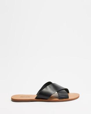 Anacapri - Cross Leather Sandals (Black)