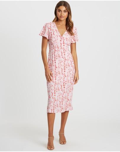Tussah Dahlia Midi Dress Pink Based Floral
