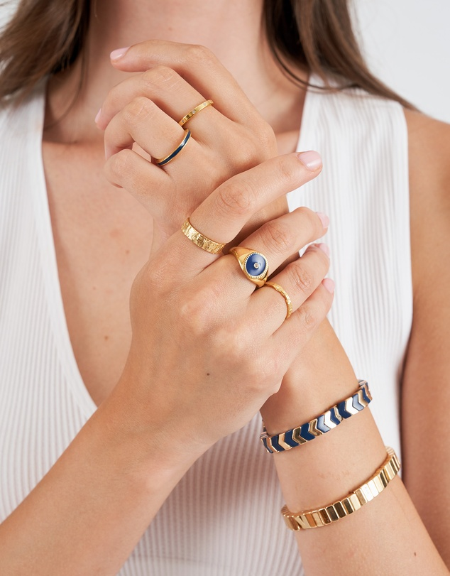 Women Raven Gold & Enamel Stacking Ring