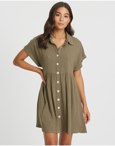 The Fated Maribelle Shirt Dress Khaki
