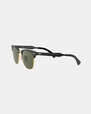 RaBan - Clubmaster Aluminum Polarised RB3507 - Sunglasses (Polarised Solid Colour Green)