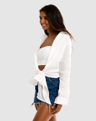 Cali Rae LA Tie Shirt - Jumpsuits & Playsuits (White)