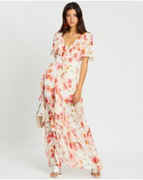 Missguided - Floral Ruffle High-Low Maxi Dress