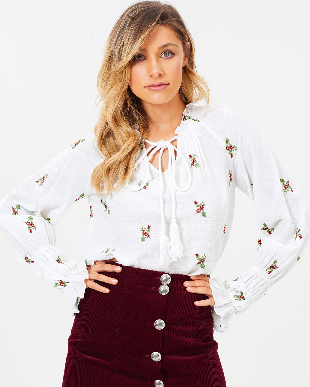 Wilde Willow Aurora Top Tops White & Embroidery Flower Aurora Top