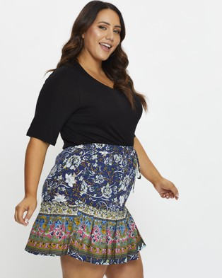 You & All Plus Floral Print Skater Skirt - Pleated skirts (Blue)