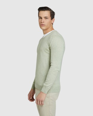 Oxford Cotton Cashmere V neck Pullover - Jumpers & Cardigans (Green)