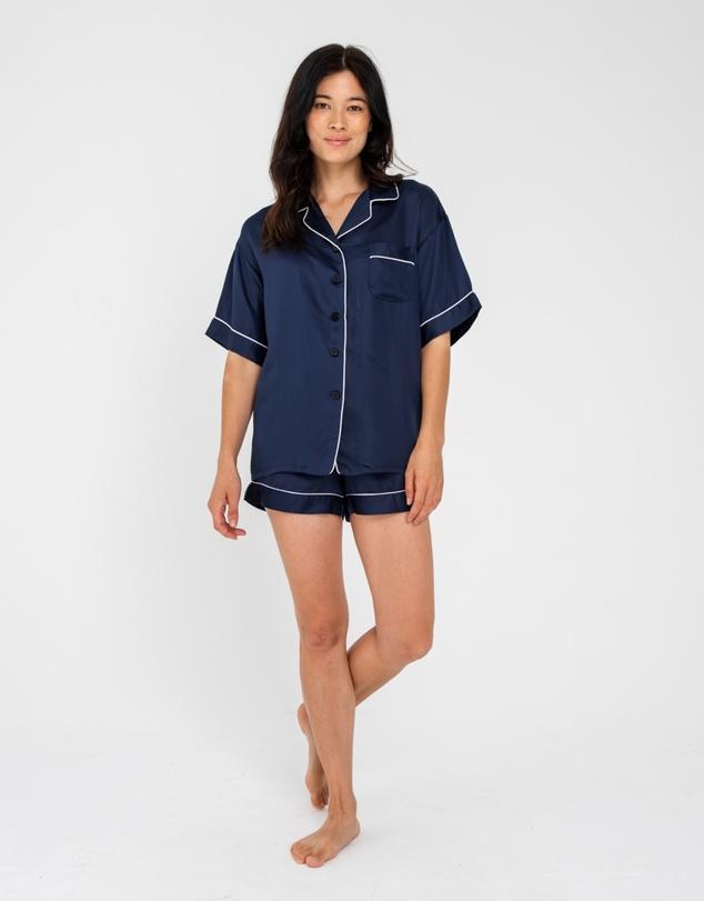Women Sateen Short Sleeve PJ Shirt