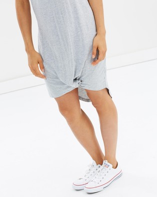 Silent Theory Twisted Tee Dress - Dresses (GREY MARLE)