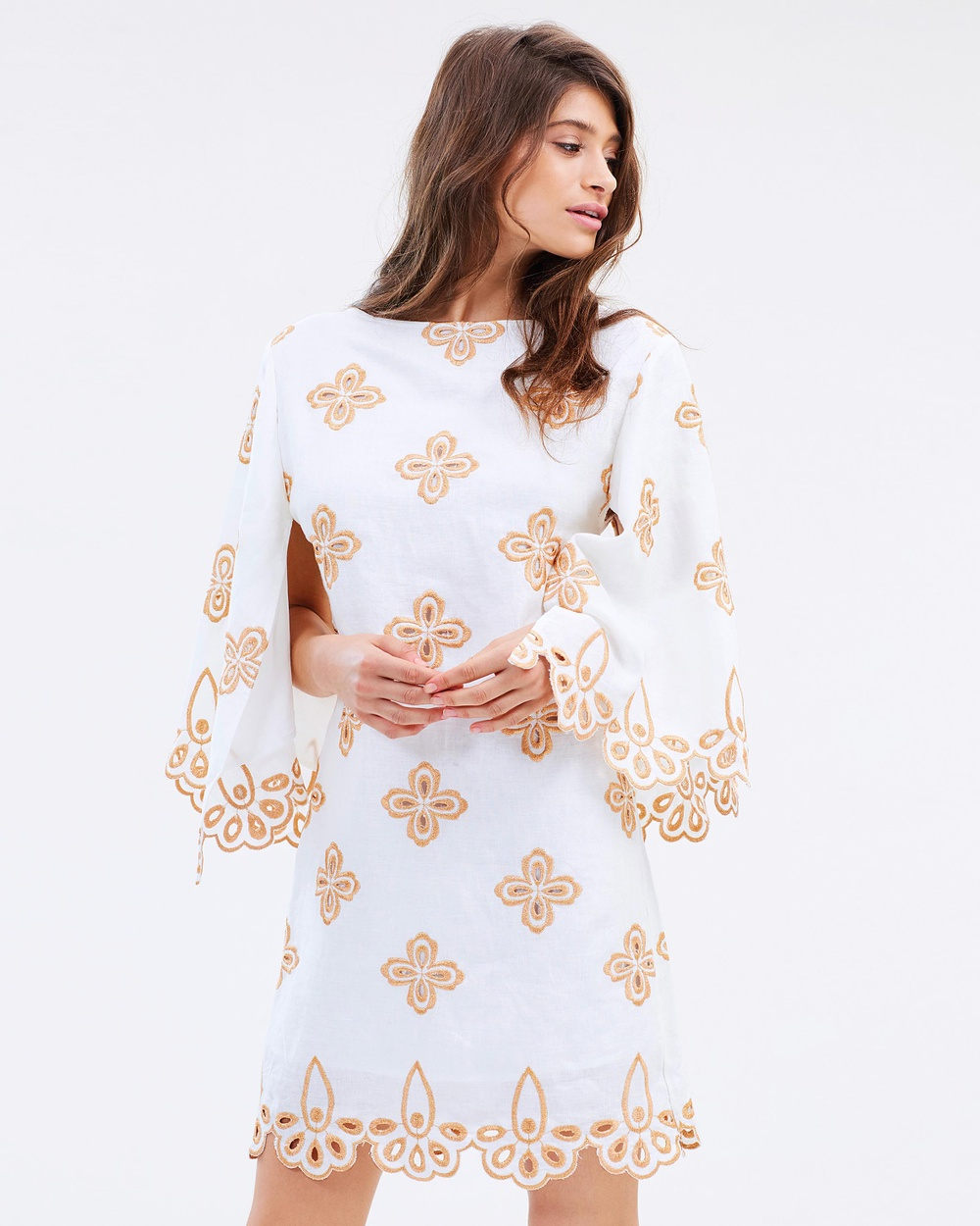 Stevie May Ritz Mini Dress Printed Dresses White & Copper Ritz Mini Dress