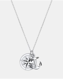 Kuzzoi - Necklace Compass Anchor Medallion 925 Sterling Silver
