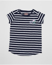 crewcuts by J Crew - Samantha Flower Stripe SS Tee - Teens
