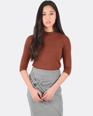 Forcast – Lili Mock Neck Knitted Sweater – Tops (Auburn)