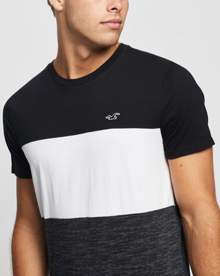 Hollister Colour Block Crew Tee - T-Shirts & Singlets (Black, Grey & White Block)