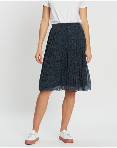 Abercrombie & Fitch Pleated Midi Skirt Navy