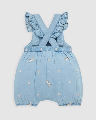 Purebaby Chambray Short Overalls   Babies - Bodysuits (Chambray Horse Embroidery)
