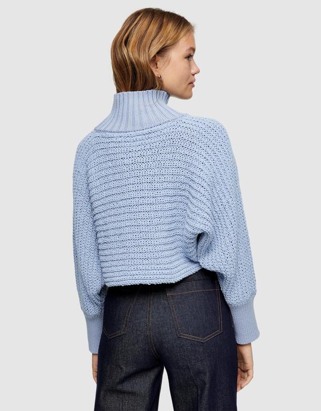 Women Chenille Crop Funnel Neck Knitted Jumper