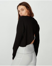 Cotton On Body Active - Long Sleeve Cross Back Waffle Top