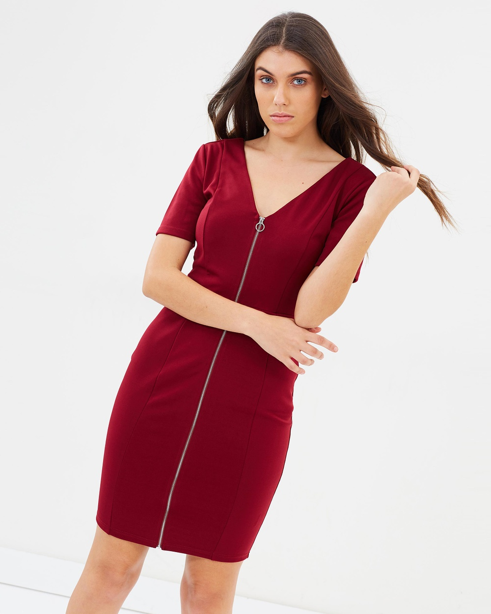 Atmos & Here Burgundy ICONIC EXCLUSIVE – Sophia Pencil Dress