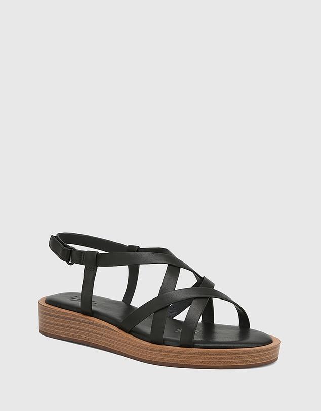 Women Etienne Leather Cross Strap Sandals