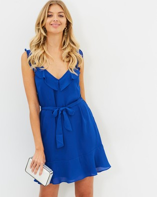 Atmos & Here – Charlize Ruffle Dress Cobalt Blue