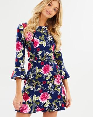 Atmos & Here – Mia High Neck Dress Dark Dahlia Floral