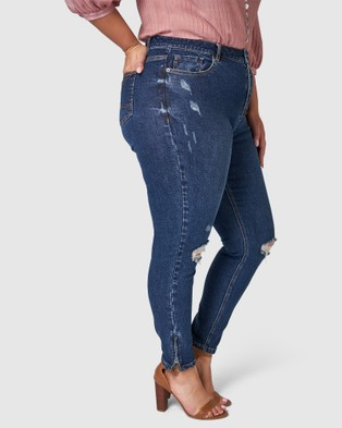 Something 4 Olivia Carolina Zip Jeans - High-Waisted (navy)