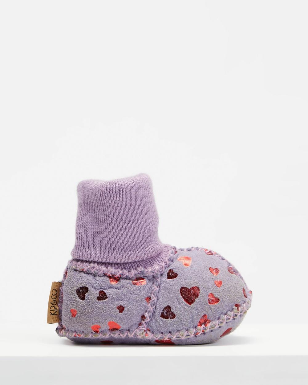 Kip&Co Sheepskin Booties Socks Lilac Printed Heart