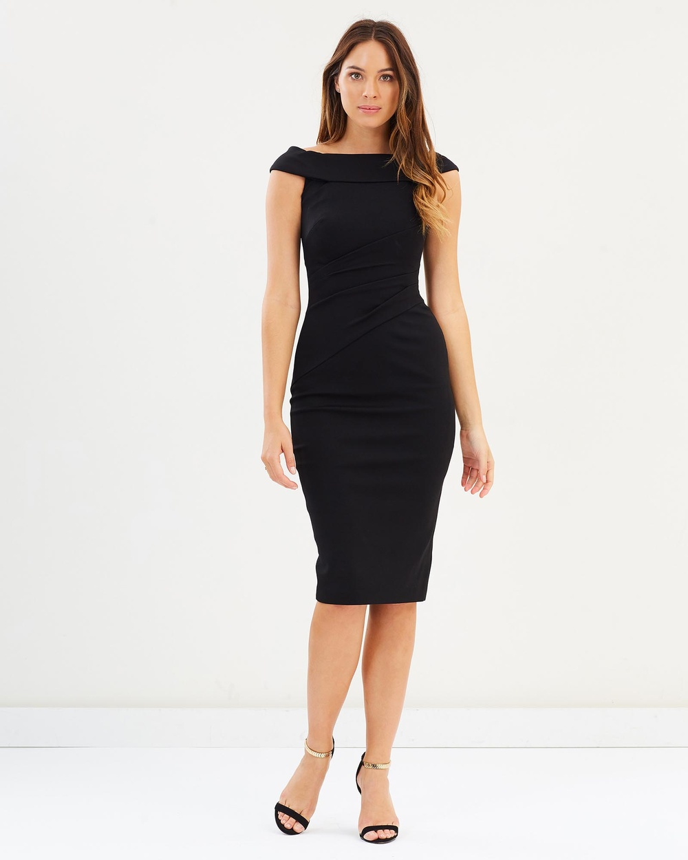 Karen Millen Bardot Shoulder Pencil Dress Dresses Black Bardot Shoulder Pencil Dress