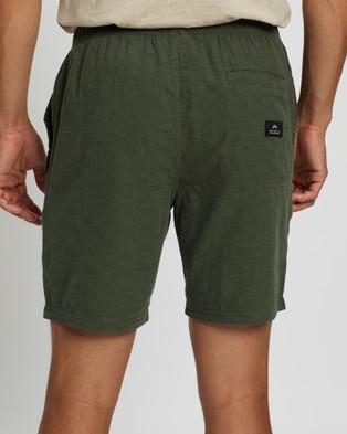 Rusty Overtone Elastic Linen Shorts - Shorts (Shadow Army)