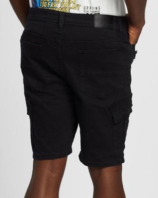 Silent Theory Field Cargo Shorts - Denim (WASHED BLACK)